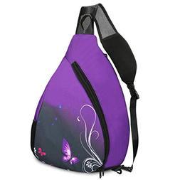 ICOLOR Canvas Sling Bag Chest Shoulder Backpack Crossbody Tr