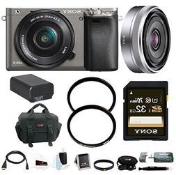 Sony Alpha A6000 Mirrorless Camera w/ 16-50mm, 16mm Lens & 3