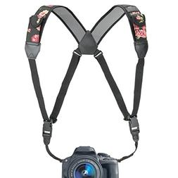 USA GEAR Camera Strap Chest Harness with Floral Neoprene and