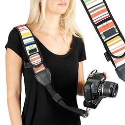 Camera Strap Shoulder Sling with Adjustable Vintage Stripe N