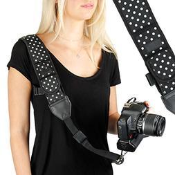 USA GEAR Camera Strap Shoulder Sling with Adjustable Polka D