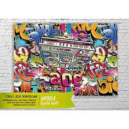 Allenjoy 5x7ft Thin Vinyl Backdrop Hip-Hop Style Graffiti De