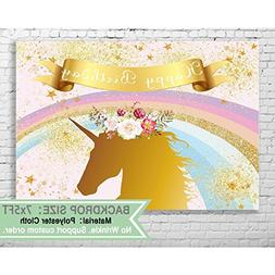 Allenjoy 7x5ft Unicorn Backdrop Birthday Decoration for Girl