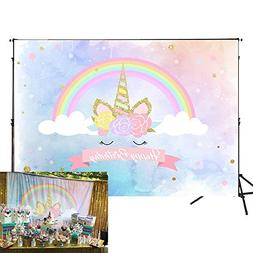 Allenjoy 7x5ft Unicorn Backdrop for Birthday Party Watercolo