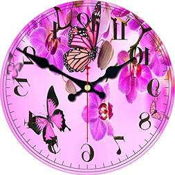 ShuaXin Wall Clock Classic Flowers,Butterflies Country Style